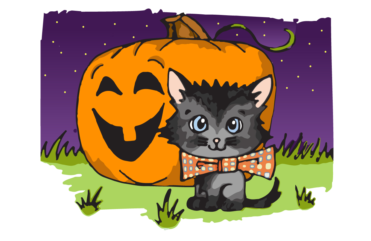 How to Draw a cute Halloween Cat Drawing Tutorial