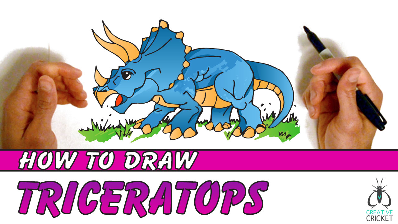 How to Draw a Triceratops Dinosaur Drawing Tutorial